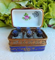 Limoges Peint Main Marque Deposee Porcelain Trinket Box 6 Perfume Cobalt Jewels (Donna's Collectables) Tags: limoges peint main marque deposee porcelain trinket box 6 perfume cobalt jewels