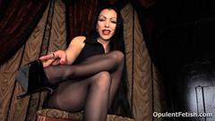 15 (opulentfetish) Tags: pantyhose highheels longhair blackhair goddesscheyenne pov rearend ass crotchless dungeon zipper breasts skirt posing bra legs legshow closeup atlantadominatrix opulentfetish