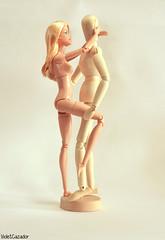 Embrace (violetcazador) Tags: toys dolls barbie bjd funny artistic subversive highkey figures white