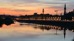 wenn es Nacht wird in Florenz (karinrogmann) Tags: italien sunset tramonto sonnenuntergang firenze florenz
