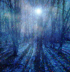 And the Trees Seemed to Shimmer (virtually_supine) Tags: blue trees light night digital photomanipulation shadows creative textures layers sparkling syb exploreworthy photoshopelements9 enteredinsyb spotlightyourbest tmicontestjune2015magicaltrees sparklingcolouredlights pse9effectslensflarepaintdaubs