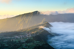 Mist and land (narenrit) Tags: bromo mountain mist light sun sunrise cloud sky morning valcano tree view beauty hill top scenic indonesia tropical asia asian east cliff travel trip mount sapatate different village country
