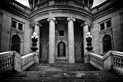 Wisconsin State Capital Building (Dan Fleury) Tags: travel white black stone wisconsin architecture stairs power politics bnw stately