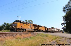 2/3 UP 8001 Leads a EB Manifest 8-4-16 (KansasScanner) Tags: up unionpacific railroad train loring bonnersprings kansas