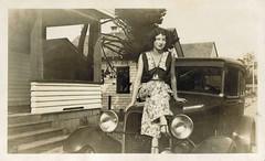 A gal sitting on a car (sctatepdx) Tags: snapshot oldsnapshot vintagesnapshot vernacular vintagecar oldcar vintagedress oregonlicenseplate vintageoregonlicenseplate