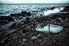 Silla en la playa (isagsr) Tags: old blue beach water chair playa silla pr viejo fajardo abandonned desgaste xido oxyde canoneos550d puertorico