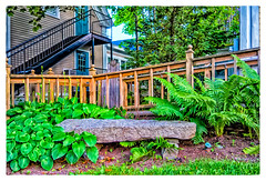 Hosta, Bench & Fern (Timothy Valentine) Tags: vacation stairs buildings bench us unitedstates maine large monday kennebunk 2016 0716 plantstrees datesyearss