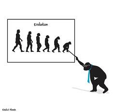 Evolution2 (khalid Albaih) Tags: evolution cartoon khartoon ape man darwin illustration muslum cartoonist oak human rights fellow 2016