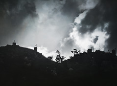 Defenses (Colormaniac too) Tags: travel sky castle portugal monochrome silhouette clouds blackwhite ruins europe fort sintra medieval moorish cloudscape battlements defenses distressedtextures
