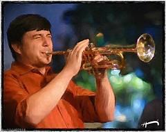 "Max Goldschmid (""SnapDecisions"" photography) Tags: brushstroke goldschmid jazz trumpet horn music tucson arizona nikon d750 hirschfeld"