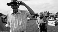 Village fete (11) (Neil. Moralee) Tags: july2016nikond7100 neilmoralee hemyock village fete neil moralee nikon d7100 man matute old laughing funny bald balding shirt moustache happy smile smiling back white mono monochrome bw candid face portrait outdoor people natural light blackdown hills rural event local hat fun summer comunity support devon uk
