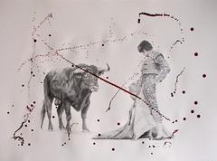 Intensions Stated. (www.kevinmaxwellsfineart.com) Tags: bulls bullfighting josetomas graphite chinagraph blood anegitive blackandwhite toros torosymatadores matadores drawing spanish espana