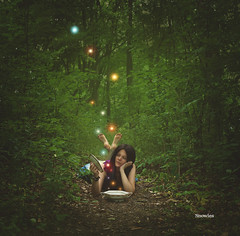 Magic (SnowiesArt) Tags: girl forest nature woods magic lights color digitalart surreal fantasy fairytale digitalmanipulation photoart