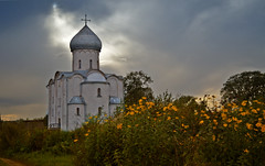 Church of the Saviour in the evening, built in 1198. Nereditsa Church
