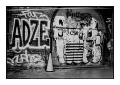 _ (leonard411) Tags: street city nyc newyorkcity urban blackandwhite bw streetart ny newyork film brooklyn analog graffiti grain dumbo ilfordhp5 push hp5 ilford filmgrain pushprocess blackandwhitefilm microphen ilfordmicrophen