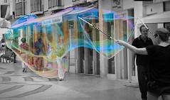 The city in a bubble (Behappyaveiro) Tags: street city cidade woman portugal faro streetartist rua algarve soapbubbles digitalmanipulation bolasdesabão artistaderua bwandcolour manipulaçãodigital giantbubble pbecores