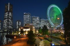 Yokohama Landmark (Jamie Barras) Tags: wheel japan skyline night skyscraper lights ferris yokohama
