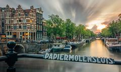 Papiermolensluis during sunset in Amsterdam (tommyferraz) Tags: holland netherlands amsterdam canals grachten korte prinsegracht papiermolensluis