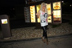 F This Wendy's Drive-Thru (I*Am*The*Great*Moon*Goddess*) Tags: sexy bird rock hair print high model shoes punk long legs boots finger off leopard blonde heels middle flipping