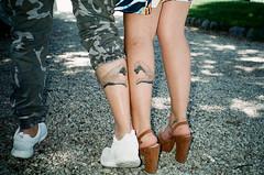 (Marco Antonecchia) Tags: love film tattoo analog 35mm heart legs streetphotography contax fujifilm calf cuore contaxt2 fujicolor pellicola handstattoo