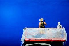 Blank Canvas ([dscphoto]) Tags: blue azure wall painting painters toronto outside street streetscene artists texture color colour bright sunshine summer workers utata:project=publicart cowboyhat