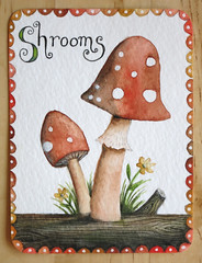 Shrooms (PatchworkPottery) Tags: mushroom painting watercolour toadstool