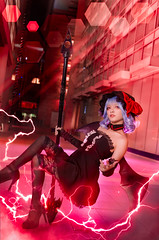 Castelia of the Scarlet Devil City (bdrc) Tags: asdgraphy remilia scarlet touhou cosplay portrait sony a6000 sigma 30mm f28 prime manipulation photo levitation floating lightning flare smoke josette girl spear night flash putrajaya