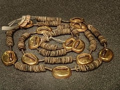 Necklace of Electrum, Gold and Faience Qau, Egypt Dynasty VII-VIII (mharrsch) Tags: england london faience gold necklace ancient unitedkingdom egypt jewelry electrum qau petriemuseum mharrsch dynasty8 dynastyvii dynasty7 dynastyviii