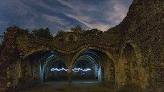 nightly fun at Waverly Abbey ruins - HSS! (lunaryuna) Tags: night nightphotography nocturnalphotography nightsky starrynight ruins waverlyabbey farnham surrey mengland lightpainting architectureinnature decayed abandoned arches lightmood lunaryuna