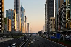 Sheikh Zayed Road in Dubai (ynaka29) Tags: dubai uae sheikhzayedroad buildings skyscraper sunrise