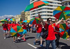 its raining men (sussexscorpio) Tags: umbrella pride sussex eastsussex seafront parade brighton 2016 august pride2016 brightonpride2016 canon canon60d colours rainbow people sunshine hovelawns carnival