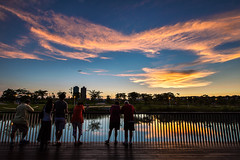 Sunset (Isaac Chiu5433) Tags: sunset sky color colortemperature clouds landscapes reflections park people