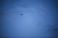 The Lonely Plane (Josh J Street) Tags: 70200f28 canon zoom plane sky night flying 5d3 hand held blue is sharp