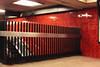 Red Walls (lefeber) Tags: newyork newyorkcity nyc city urban architecture downtown bowlinggreenstation subwaystation interior red tiles railing escalator steps