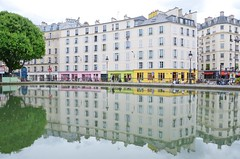 reflections (snowshoe hare*) Tags: paris france water reflections canal horsechestnut  canalsaintmartin marronnier  dsc0078