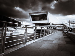 Museum of Liverpool BW (Stephen Weston Photography) Tags: sky white black water lines museum architecture contrast liverpool buildings photography photo dock fuji photos pics stephen and fujifilm lead weston x20 in of stephenwestonphotography