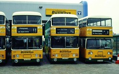 SUNDERLAND BUSWAYS 811 OCU811R / 107 EJR107W AND 590 RCU590S REST AT SUNDERLAND WHEATSHEAF DEPOT (47413PART2) Tags: sunderlandbusways nebuses