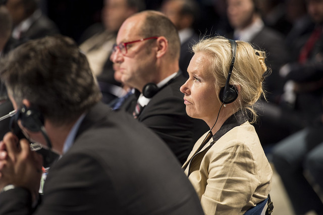 Anna Johansson listening to the Open Ministerial Session