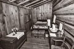 Guest Bedroom (Oliver Leveritt) Tags: heritagevillage woodville texas blackandwhite monochrome sepia platinum old historic artifact building nostalgia nikond610 afsnikkor1635mmf4gedvr oliverleverittphotography wideangle sb800 flash speedlight abetterbouncecard
