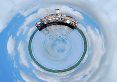 Spherical panorama (sonqilman) Tags: danube spherical panorama ship nature