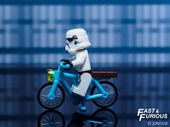 Fast & Furious (XINYAW13) Tags: starwars stormtrooper bicycle payperride riding fast motion lego minifigure olympus toy toys toyphotography