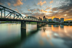 portland at sunset (Eric 5D Mark III) Tags: city longexposure bridge sunset usa reflection oregon canon river portland landscape photography downtown cityscape unitedstates sony wideangle ericlo metabones smartadapter eftonex ef1124l ef1124mmf4lusm a7r2 ilce7rm2