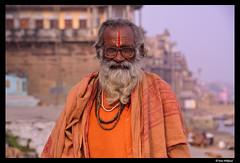 Varanasi sadhu (Dan Wiklund) Tags: varanasi uttarpradesh india portrait man person riverside sadhu orange d800 2014