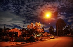 Fluffy clouds over sleepy town (PeterThoeny) Tags: hdr 1xp nex6 photomatix california sanfranciscobay night cloud cloudy sky outdoor texture raw selp1650 street light streetlight scatteredclouds neighborhood cupertino sanjose fav100 qualityhdr qualityhdrphotography
