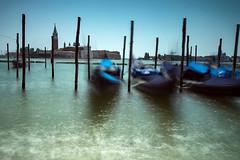 Gondolas looking towards San Giorgio Maggiore (mwng99) Tags: san giorgio maggiore gondola gondolas venice italy architecture sea landscape travel long exopsure fuji xt1 fujifilm formatt hitech venetian sky blue