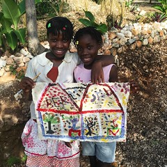 Berline Pierre (13) and Sabrina Bien-Aime (10) (Haiti Partners) Tags: childrensacademy 2016 july haiti entrepreneurship socialbusiness artscrafts papermaking
