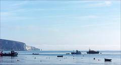 Swanage pano July 2016 4 (Mat W) Tags: swanage dorset coast sea seaside solent boats july 2016 morning oldharryrocks sky panorama stitchedpanorama