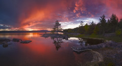 The Arc (lonekheir) Tags: norge norway panorama lake sunset lonetree colors forest hills landscape