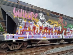 Aware (Chicago City Limits) Tags: aware freightgraffiti traingraffiti wholecar hopper grainer juggalo freight icp benching