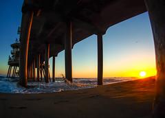 Huntington Beach Pier (Mike Boening Photography) Tags: huntingtonbeach olympuspenf beach california mikeboening ocean olympus pier sunset waves water bluesky sand perspective